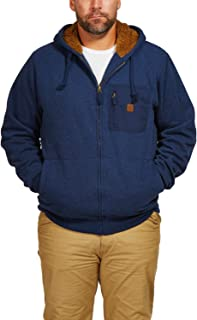 Sherpa-Lined Hoodie With Zip Chest Pocket (X Large, Midnight Navy)