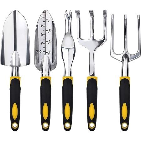 FEBSNOW Garden Tool Set - 5 Pieces Heavy Duty Gardening Hand Tools Kit Include Garden Trowel, Garden Rake, Spade Shovel, Weeder, Cultivator for Men, Women