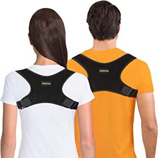 Atlus Strong Posture Corrector for Men and Women – Upper Back Clavicle Brace Support – Subtle Under Clothing Wear – Back and Shoulder Pain Relief, Black