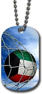Aluminum Dog Tag Necklace and Key Ring - Flag of Kuwait (Kuwaiti) - Soccer