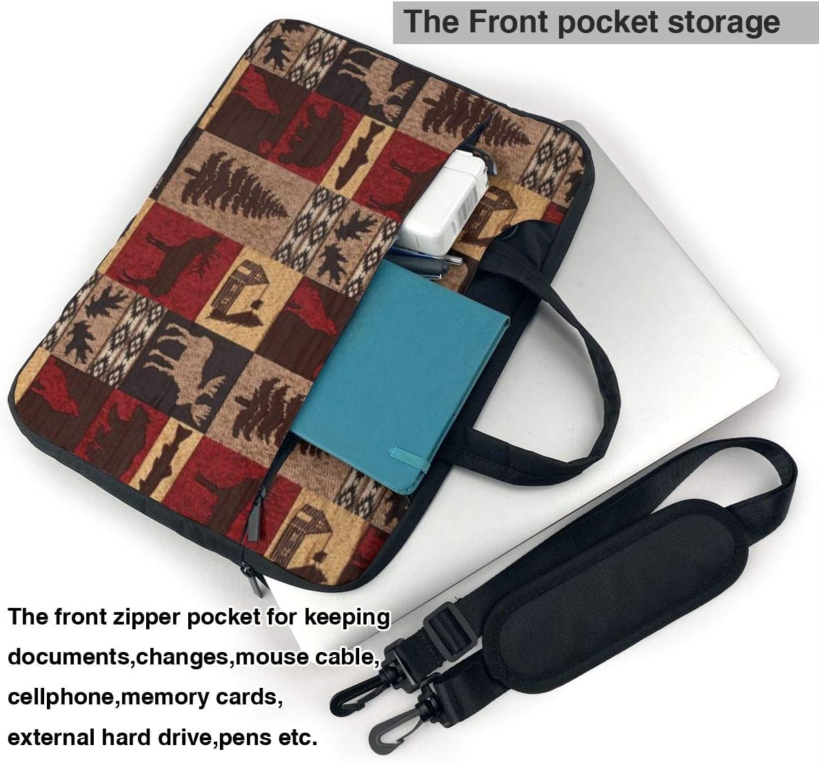 Laptop Shoulder Bag Lodge Bear Deer Fish Carrying Handbag Briefcase Sleeve Case 13 Inch
