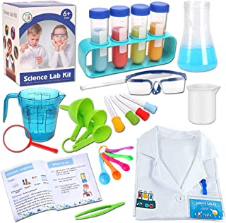 mixi Science Experiments Kits for Kids with Lab Coat Scientist Costume Dress Up Pretend Play Stem Toys for 4 5 6 7 8 9 10 ...