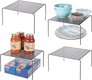 mDesign étagère cuisine – petit rangement cuisine autoportant en métal – range vaisselle avec pieds antidérapants pour tas...