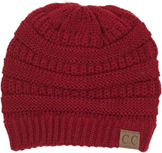 BYSUMMER Warm Soft Cable Knit Skull Cap Slouchy Beanie Winter Hat (Red)