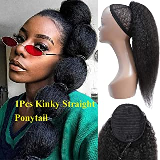 Feelgrace 3C Adjustable Ponytail Hair Afro Kinky Straight Ponytail Hair Clip In Hair Extension Natural Color Yaki Ponytail Hair (22 Inch, Kinky Straight)