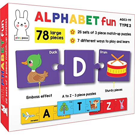 Play Poco Alphabet Fun Type 2 - 78 Piece Alphabet Matching Puzzle - 7 Different Ways to Play and Learn - Includes 78 Thick Puzzle Cards with Beautiful Illustrations