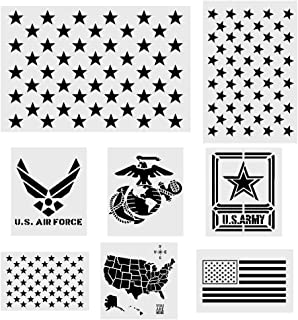 Best Koogel 8 Pcs Plastic Stencil Template+1 Mysterious Airbrush Stencils, American Flag 50 Star U.S(Map Flag Marine Corps Army Air Force) for Planner/Notebook/Diary/Scrapbook/Graffiti/DIY Drawing Painting Review