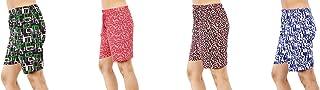MUKHAKSH (Combo of 4 Pack) Girls/Women/Ladies Hot/Latest Multi Colour Shorts for Nightwear/Lounge Wear/Casual Wear (Print ...