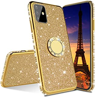 MEIKONST Case for Galaxy A71 5G, Stylish Bling Sparkly Diamond Luxury Plating Silicon TPU Soft Case with Ring Stand Holder...