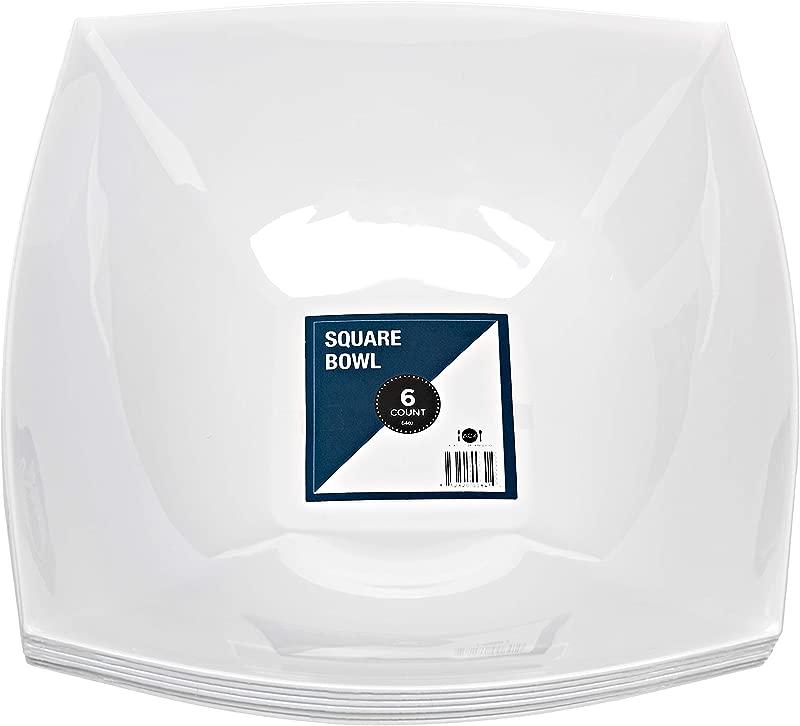 Disposable Reusable Square Serving Bowls 6 Pack 64OZ Square Serving Bowls By Aya S Cutlery Kingdom