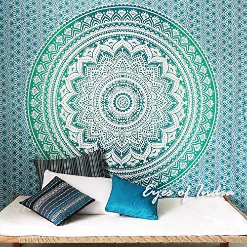 Eyes of India - Hippie Indio Mandala Tapiz Decoración de Pared Dormitorio Bohemio Decorativo - Verde #1, 84 X 94 in. (213 X 238 cm)