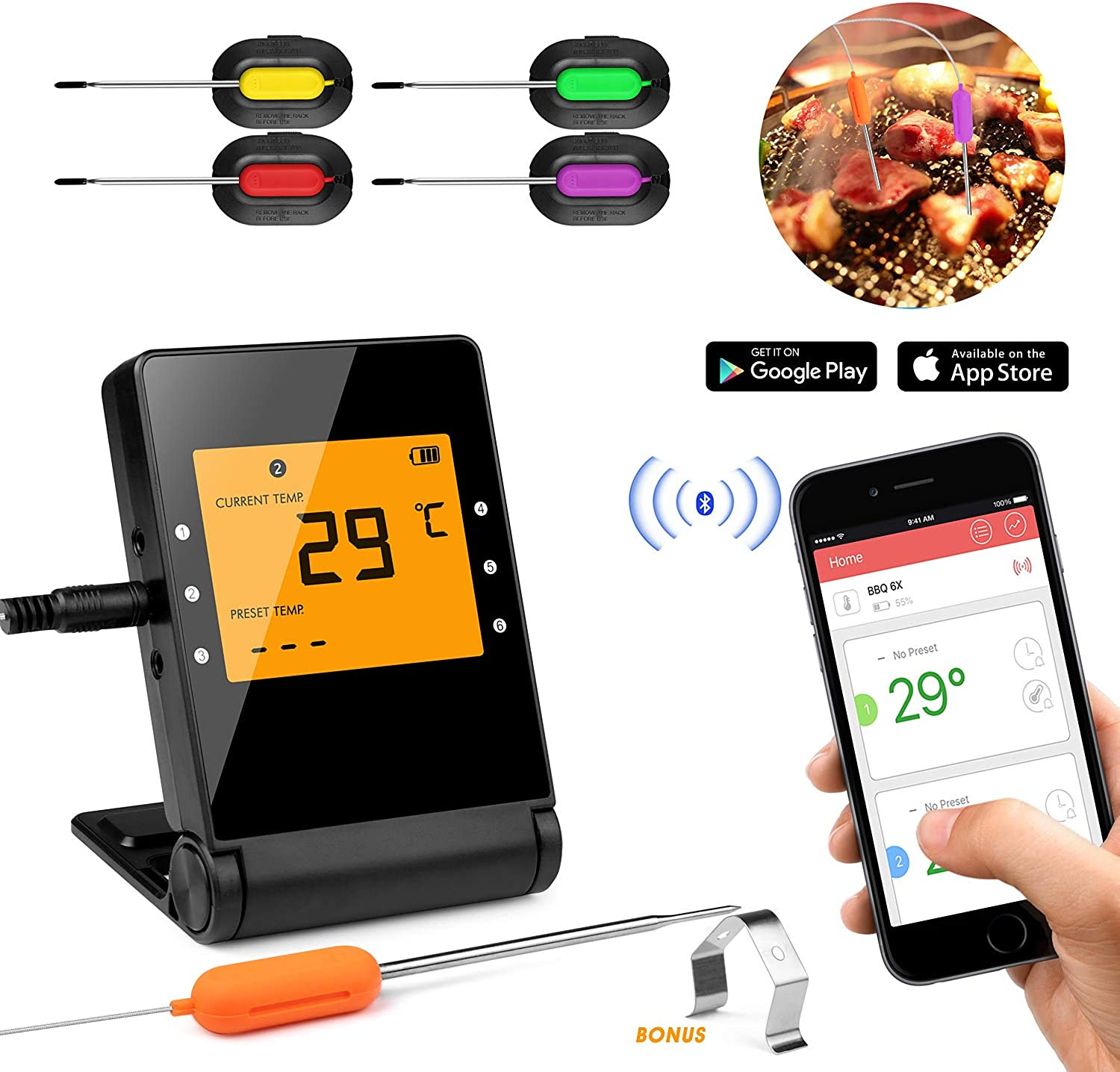 Shinmax BBQ Meat Thermometer for Grilling,APP Controlled Smart Cooking blueetooth Thermometer for Outdoors Smoker Oven BBQ Indoor Kitchen (4P)