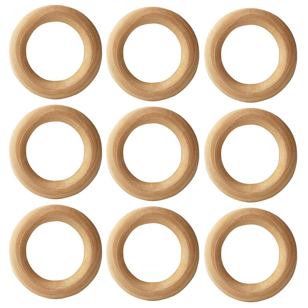 AxeSickle 25pcs Natural Wood Rings Circle 2-1/8