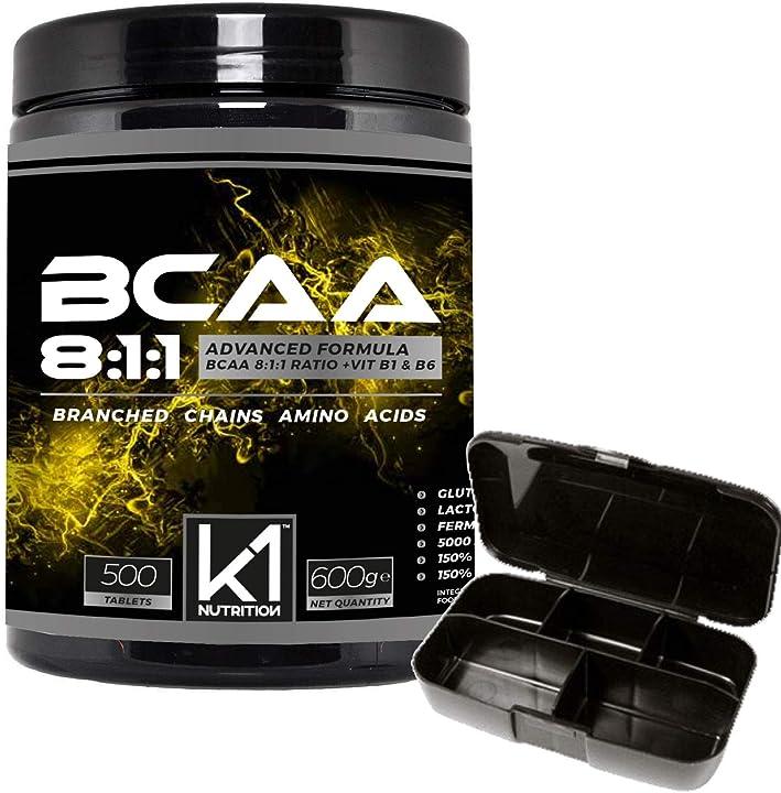 bcaa 8 1 1 500 compresse k1 nutrition integratore di aminoacidi ramificati 811 con vitamina b1 e b6 advanced b07mgp2yk4