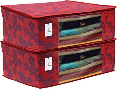 Heart Home 2 Piece Non Woven Saree Cover Set, Red,7 Inches Height CTHH11586