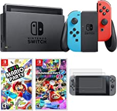 Nintendo Switch 32 GB Console with Neon Blue and Red Joy-Con (HACSKABAA) with Super Mario Party for Switch, Mario Kart 8 Deluxe for Switch & Tempered Glass Screen Protector 2017 (2-Pack)