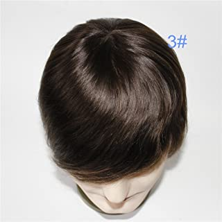 Lumeng Wigs for Men Hair Loss Real Hair Toupee Mono Lace Systems Size 7x9 Inch Color 3#