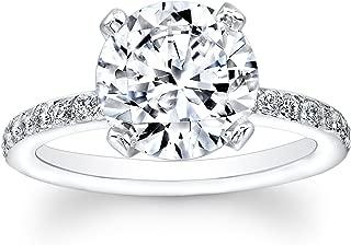 White Sapphire engagement ring antique design with 2 ct Round Brilliant natural white sapphire center 0.25 ctw diamonds