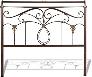 Leggett & Platt Lucinda Metal Headboard Panel with Intricate Scrollwork and Sleigh-Styled Top Rail, Marbled Russet Finish, Full