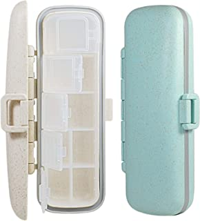 Pill Case - 2 Pack Portable Travel Medicine and Vitamins Organizer. Small Size BPA Free Daily Medication Carry Box (Green/...