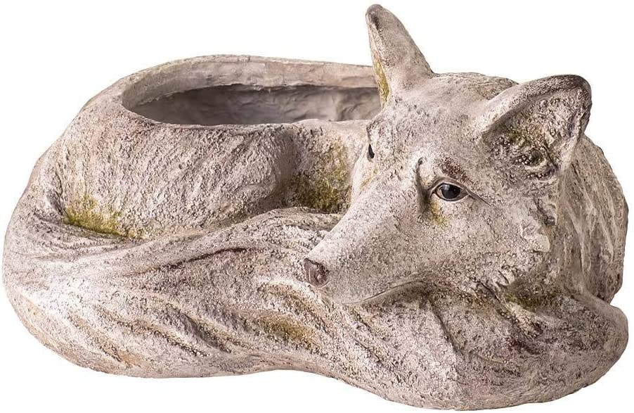 Wind & Weather 15-Inch Long by 12-Inch Wide by 8.5-Inch High Indoor/Outdoor Resting Fox Planter with Look of Carved Stone Accented with Moss Patches with Drainage Hole