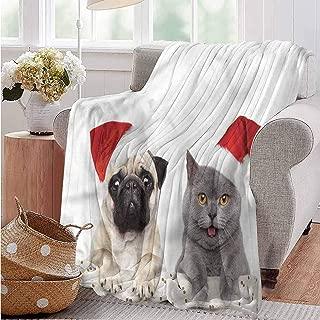 Christmas Blankets,Weighted Blanket,Waterproof Throw Blankets,Pug,Christmas Themed Dog Photo-Beautiful Fur Throw Blanket(84