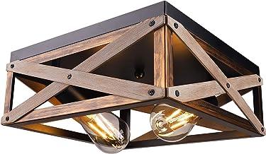 Rustic Flush Mount Ceiling Light Fixture, Farmhouse Light Fixtures Ceiling Two Light Metal and Wood Square Industrial Ceil...