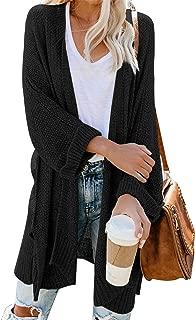 Womens Casual Open Front Cardigan Long Sleeve Side Split Knit Long Cardigan Sweaters