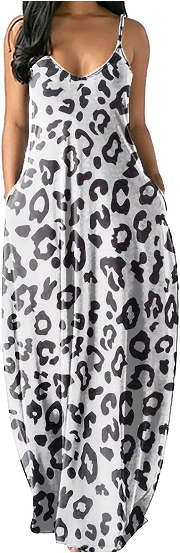 Women's Fashion Dress Colorful Butterfly Print Leopard Sleeveless Long Dress Summer Elegant V-Neck Vest Maxi Dress