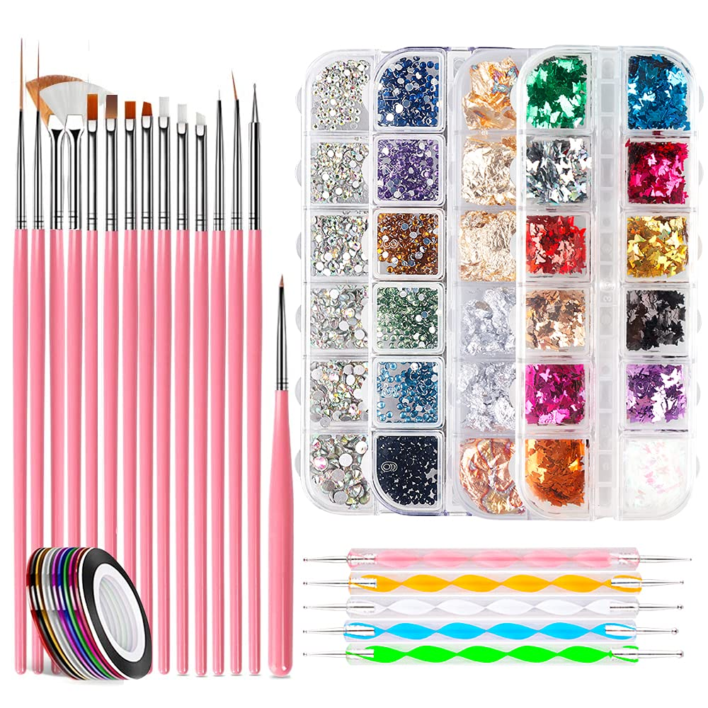 Nail Art mart Many popular brands Brushes Set with 3D 24 Boxes Kit Rhinestones