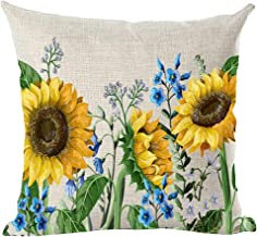 ramirar Hand Painted Ink Oil Painting Watercolor Yellow Sunflowers Blue Flowers Summer Decorative Throw Pillow Cover Case Cushion Home Living Room Bed Sofa Car Cotton Linen Square 18 x 18 Inches