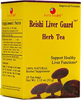 Reishi Liver Guard Herb Tea by Health King - Support Healthy Liver Functions & Detox - ( 4 Pack, 80 Count TeabagsGoji Berr...