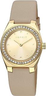 Esprit Spot Champagne Dial Leather Analog Watch For Women ES1L148L0025