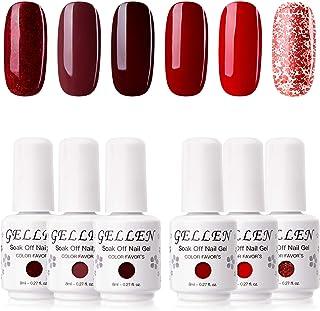 Gellen Gel Nail Polish Kit - Wine and Reds Series Dark Elegance Tone, Pigmented Charimg Nail Art Gel 6 Colors Home Gel Man...