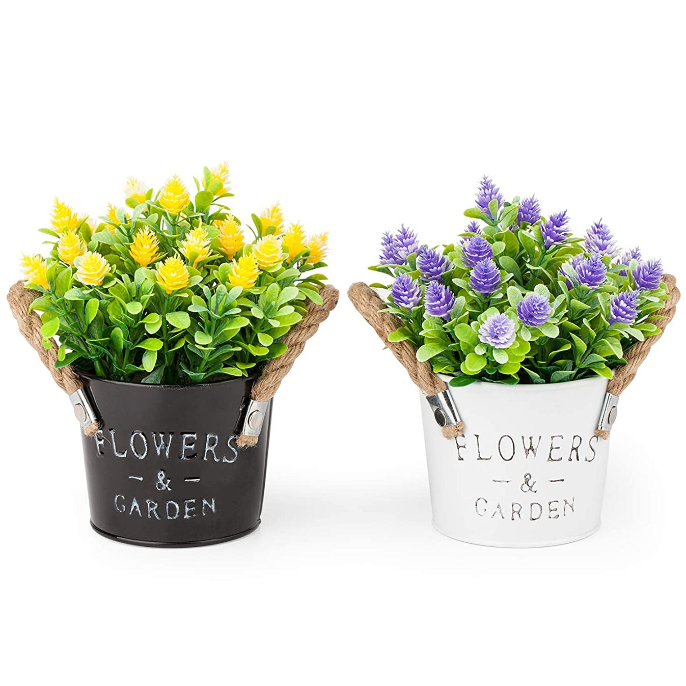 Pherypot Mini Artificial Potted Fake Fresh Flowers in Black and White Metal Pot for Home Decor - Set of 2 (Purple & Yellow with Green Grass)