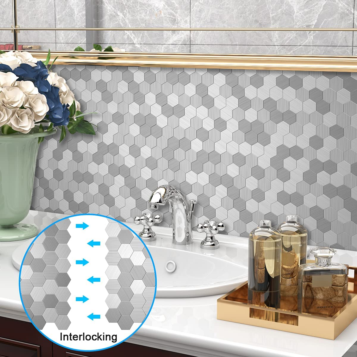 Buy Benice Hexagon Kitchen Backsplash Peel Stick Tiles Stick On Backsplash Bathroom Wall Tiles Mosaic 5sheets Silver Online In Indonesia B08cjz1m2n