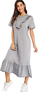 فستان رمادي منقط بحافة مكشكشة وقصة مستقيمة