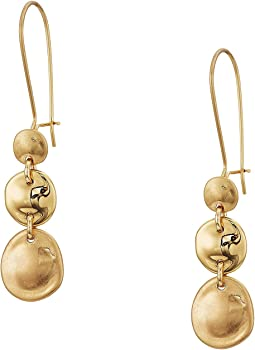 Gold Disc Drop Shephard Hook Earrings