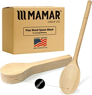 MAMAR Natural Pine Wood Carving Spoon Blank - Polished, Unfinished - Balsa Wood Carving Tools Blanks for Whittling - Perfect for Beginners or Advanced DIY - Craft a Masterpiece for Your Next Project