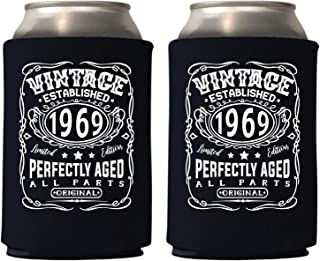 Veracco Vintage Established 1969 Perfectly Aged Can Coolie Holder 50th Birthday Gift Fifty and Fabulous Party Favors Decorations (48, Blk, 1969)