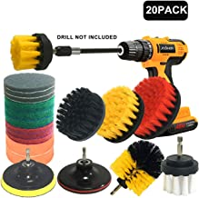 20Piece Drill Brush Attachments Set,Scrub Pads & Sponge, Power Scrubber Brush with Extend Long Attachment All purpose Clean for Grout, Tiles, Sinks, Bathtub, Bathroom, Kitchen,Yellow & black