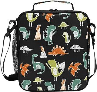 Sac à déjeuner isotherme carré avec motif dinosaure sur fond noir - Grande capacité - Pour voyage, pique-nique, école, etc.