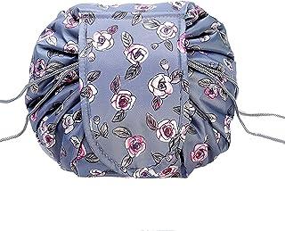 Drawstring Magic Cosmetic Pouch Bag, Lazy Drawstring Makeup Bag Opens Flat, Magic Makeup Pouch Waterproof Portable Organiz...
