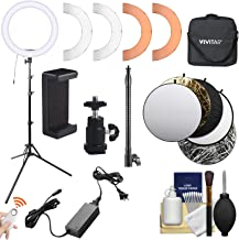 Vivitar RL18 18-inch Dimmable LED Ring Light with Diffuser & Warming Filters, Stand, Flex Arm, Ball Head, Smartphone Holder, Remote + Reflector Kit