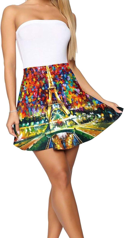 RHRFOL Paris of My Dreams Women's Basic Versatile Stretchy Flared Casual Mini Skater Skirt