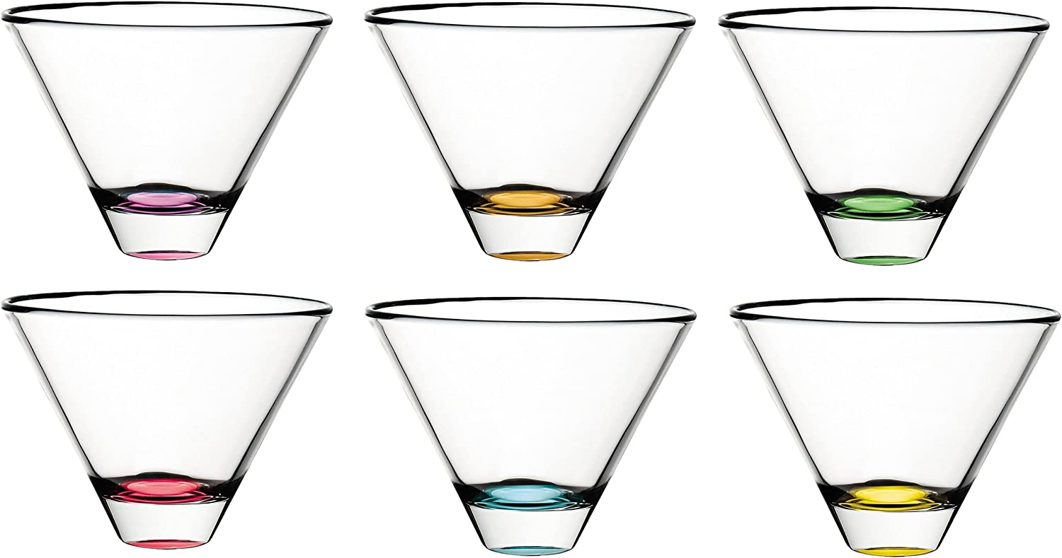 Barski European Glass - Cocktail Tumbler Glasses- Uniquely Designed - Assorted colors - Set of 6 - 11oz. - Made in Europe