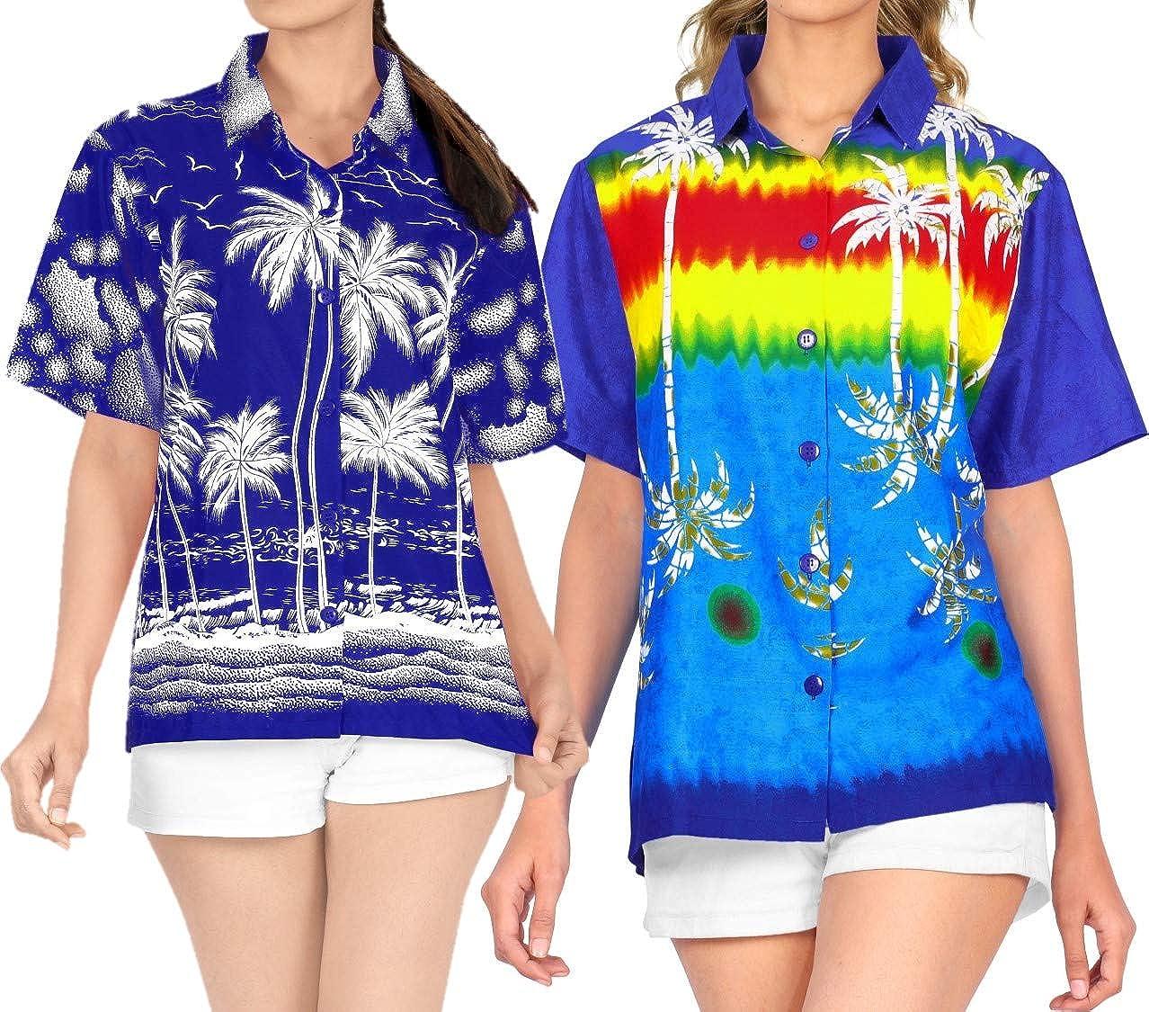 100% quality warranty LA LEELA Women's Max 42% OFF Plus Size Hawaiian S Premium Shirt Dress Casual