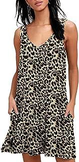 Abravo Mujer Vestido Camiseta Estampado Floral Manga Larga Vestido Casual Corto Playa con un Bolsillo (S, Z-Leopardo)