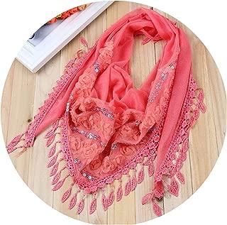 1PC Female Women Tassel Shawls And Scarves Autumn Women Silk Flower Lace Triangle Pendant Scarf