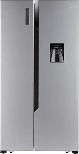 AmazonBasics 564 L Frost Free Side-by-Side Refrigerator with Water Dispenser (Silver Steel Finish)